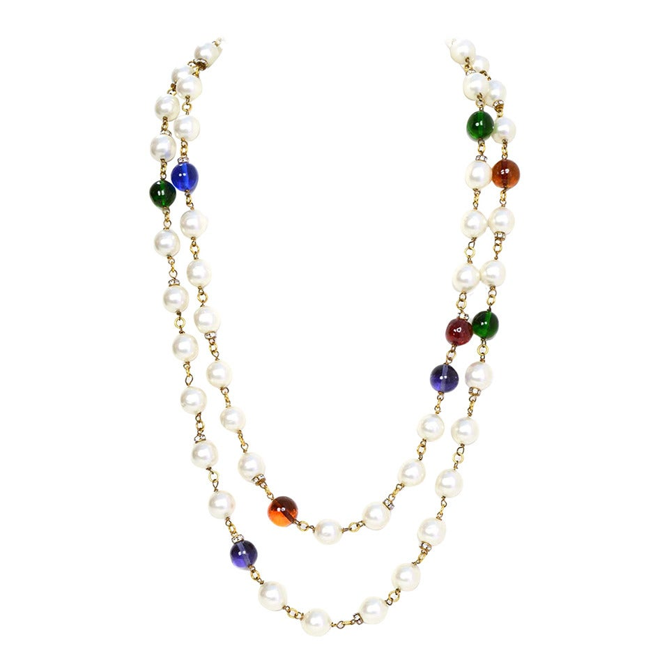 Chanel Vintage '90s Pearl And Glass Bead Double Strand Necklace 1