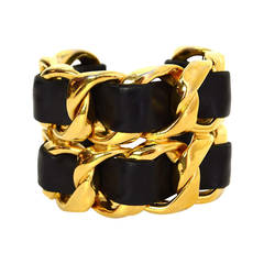 CHANEL Vintage '86 Black Leather Woven Gold Chain Link Cuff Bracelet