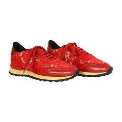 VALENTINO Red Suede & Lace Sneakers sz 36.5