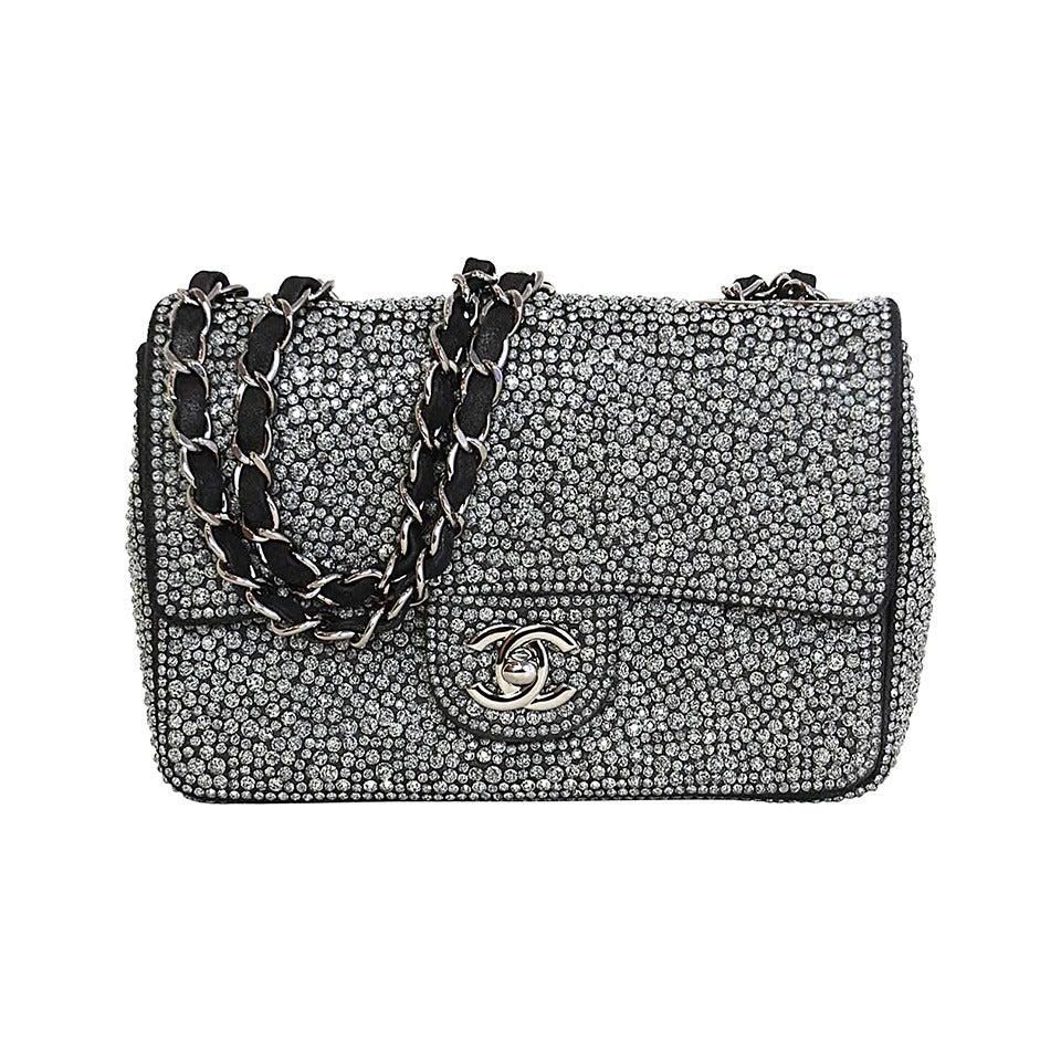 CHANEL 2014 Dark Grey Crystal Mini Classic Flap Evening Bag For Sale