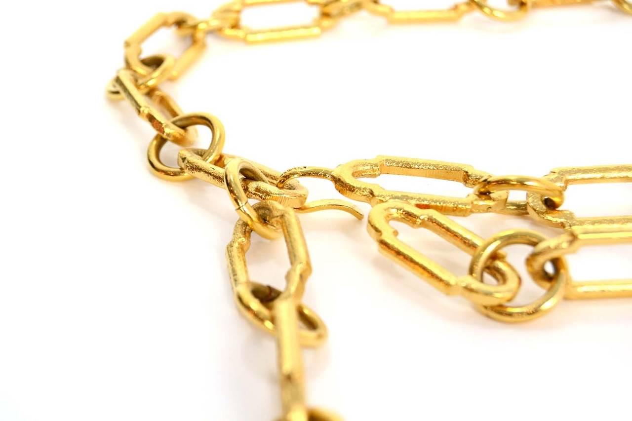 CHANEL Gold Chain Link Filigree Medallion Belt 2