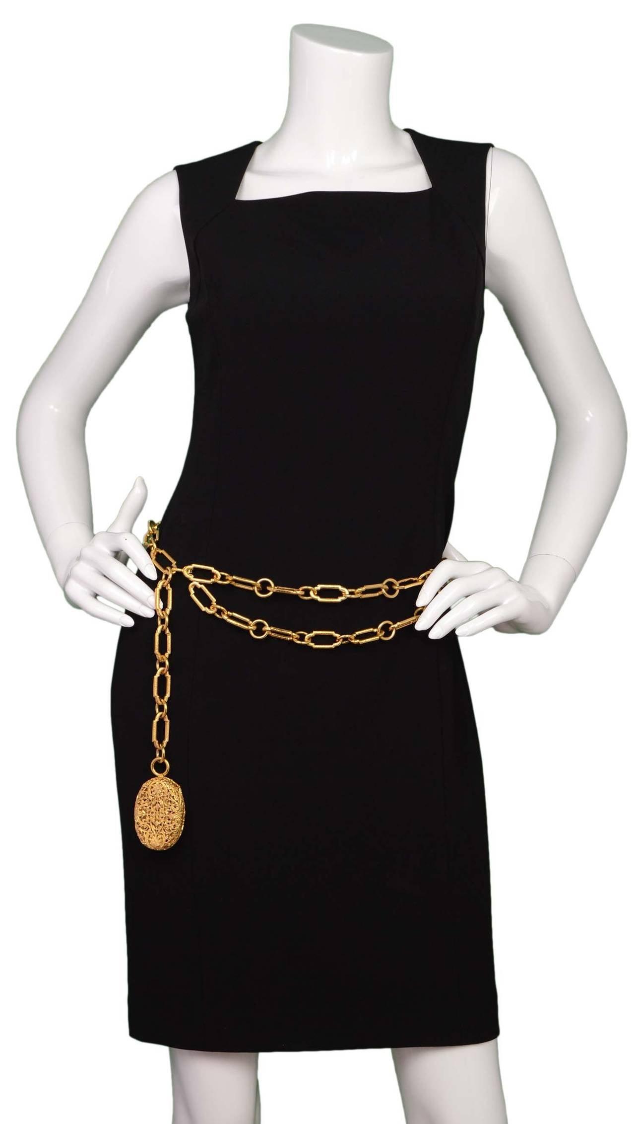 CHANEL Gold Chain Link Filigree Medallion Belt 5