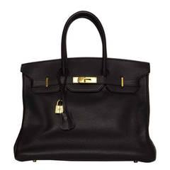 HERMES Black Togo Leather 35cm Birkin Bag GHW