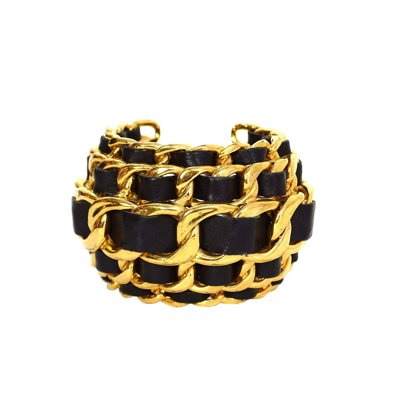 CHANEL Vintage '87 Black Leather Woven Gold Five-Tier Chain Link Cuff Bracelet 1