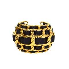 CHANEL Vintage '87 Black Leather Woven Gold Five-Tier Chain Link Cuff Bracelet