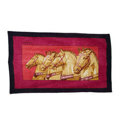 HERMES Red & Navy Cotton Horse Print Towel