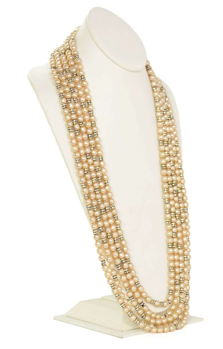 CHANEL Five-Strand Faux Pearl Long Necklace With Rondelles 2