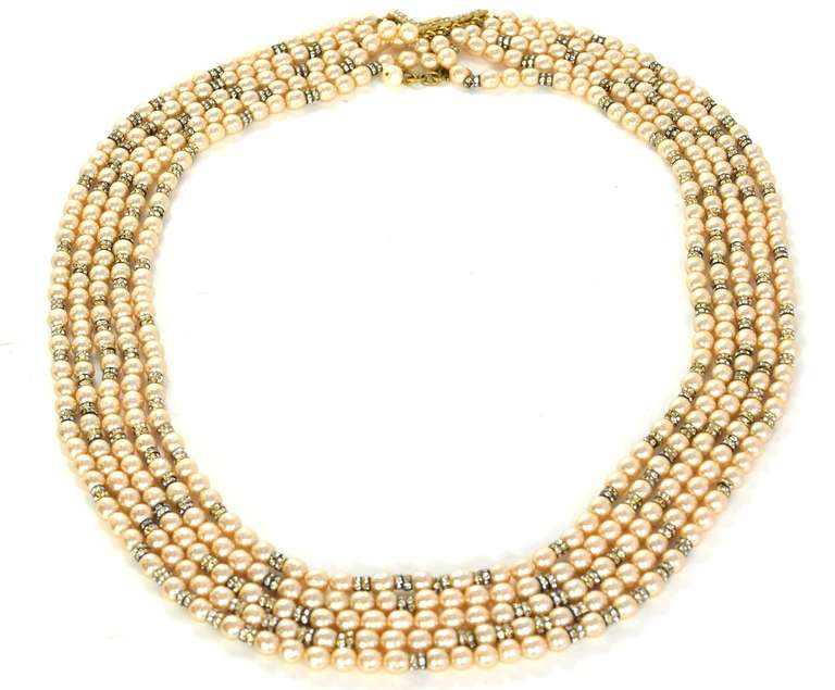 CHANEL Five-Strand Faux Pearl Long Necklace With Rondelles 3