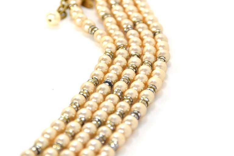 CHANEL Five-Strand Faux Pearl Long Necklace With Rondelles 4