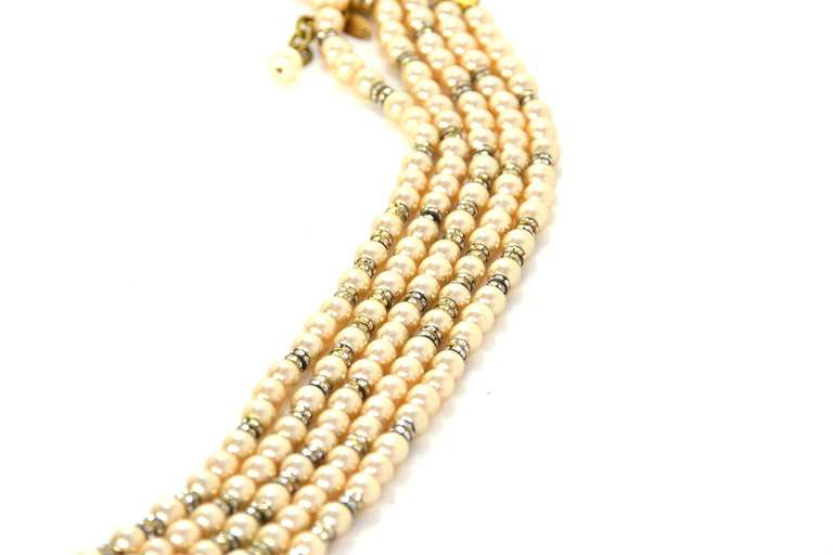 CHANEL Five-Strand Faux Pearl Long Necklace With Rondelles 5