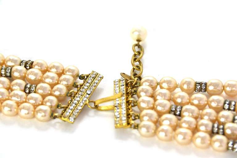 CHANEL Five-Strand Faux Pearl Long Necklace With Rondelles 6