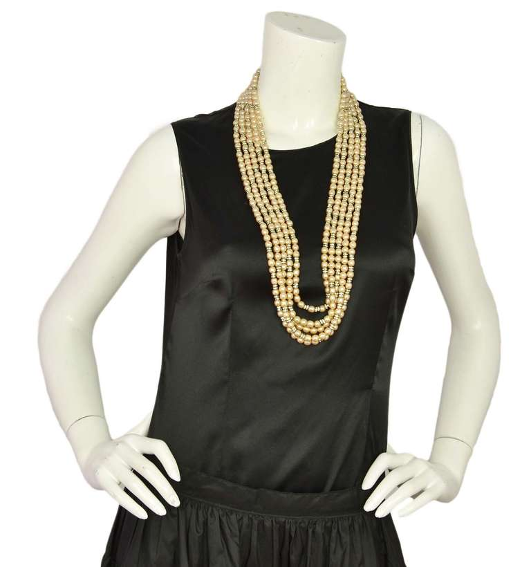 CHANEL Five-Strand Faux Pearl Long Necklace With Rondelles 8