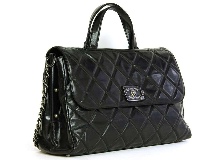 Chanel 2012 Black Quilted Convertible Boy Flap Tote Bag w. Chain ...