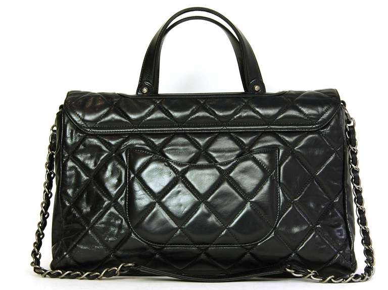 a4f8fc58811f Chanel 2012 Black Quilted Convertible Boy Flap Tote Bag w. Chain Strap at  1stdibs
