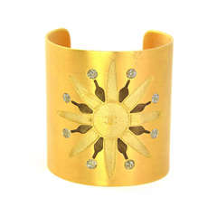 Chanel Vintage '90s Brushed Gold Cuff Bracelet