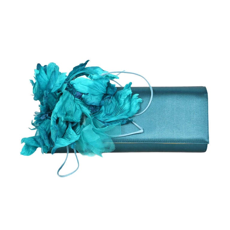 GUCCI Teal Satin Clutch With Flower 1