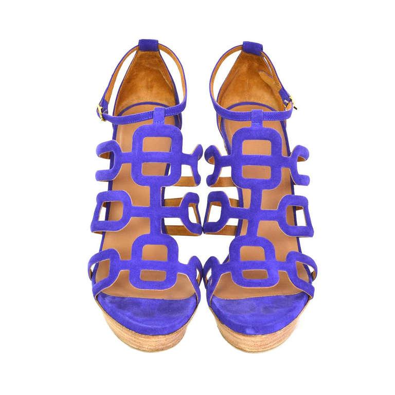 HERMES Purple Suede Ancre Heels Shoes - Sz 39 For Sale