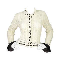 CHANEL White & Black Crochet Cardigan sz 40