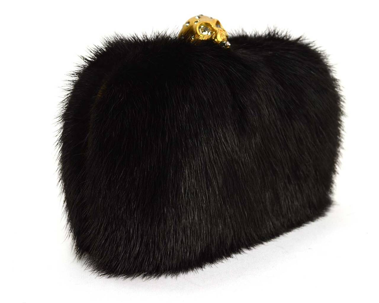 Alexander McQueen Black Fur Skull Clutch
