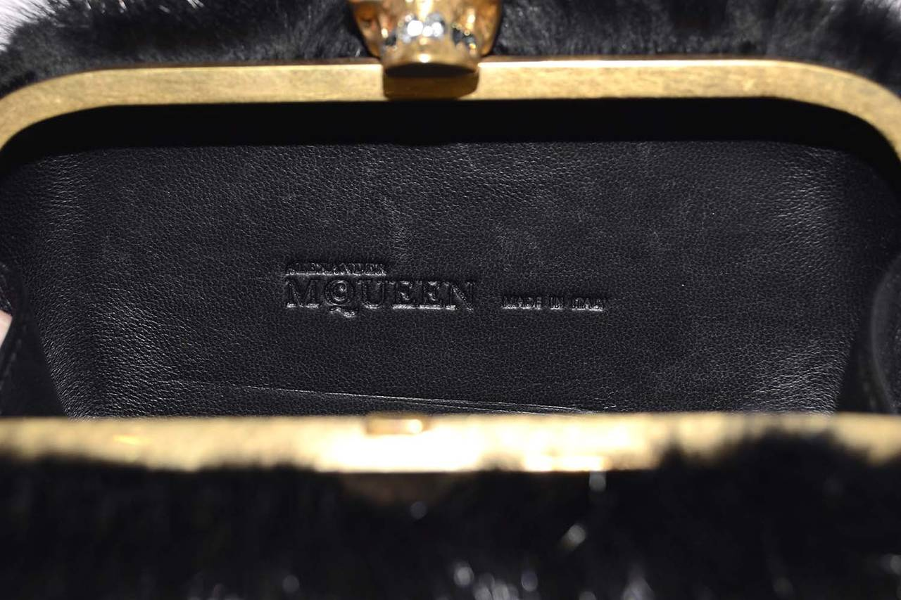 ALEXANDER MCQUEEN Black Fur Skull Clutch GHW For Sale 2