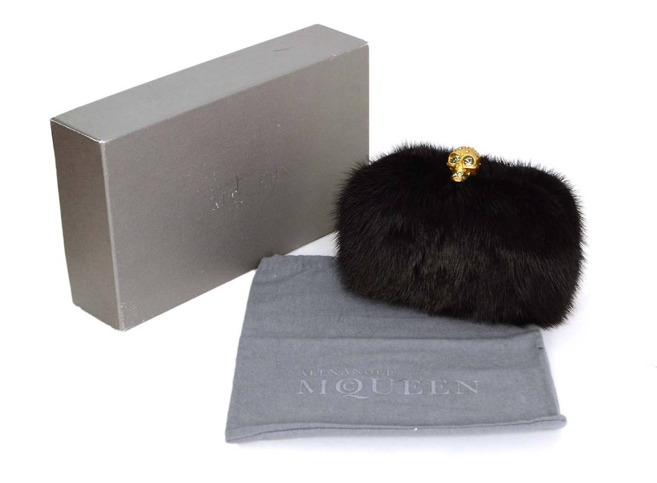 ALEXANDER MCQUEEN Black Fur Skull Clutch GHW For Sale 3
