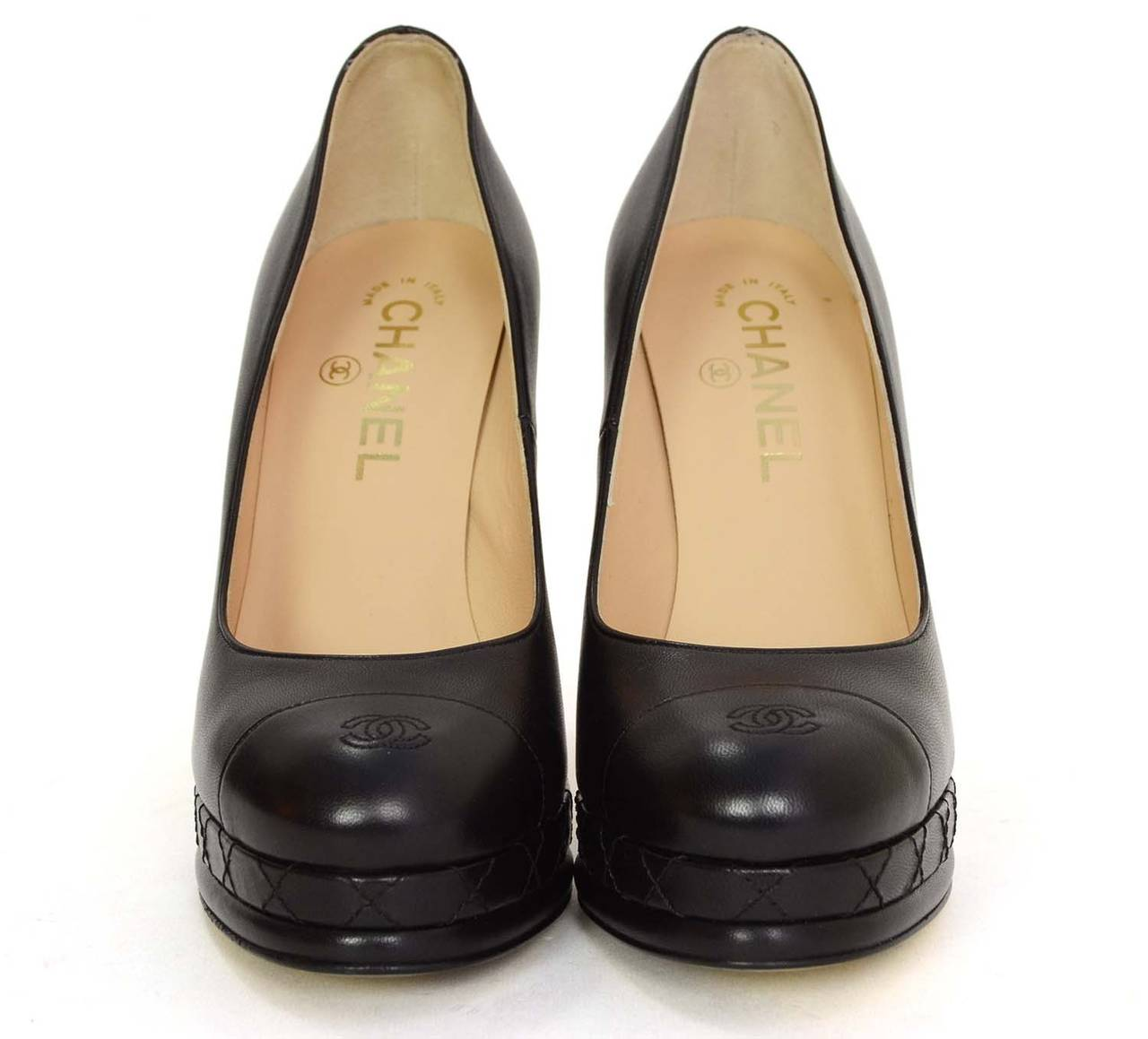 CHANEL Black Leather Round Toe Pumps sz 37 2