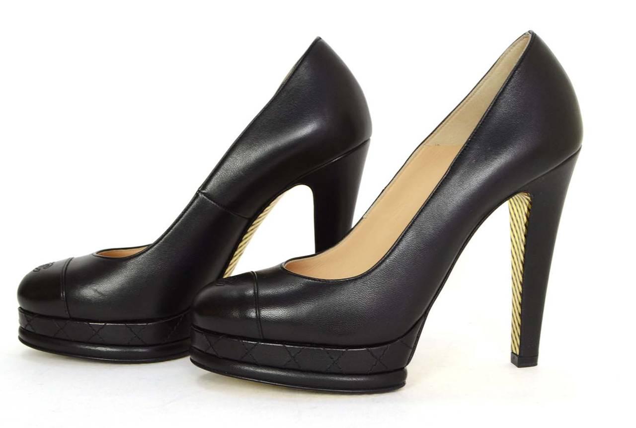 2ad05e6b1c9 CHANEL Black Leather Round Toe Pumps sz 37 at 1stdibs