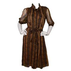 YVES SAINT LAURENT YSL Brown Sheer Button Down Shirt-Dress sz 8