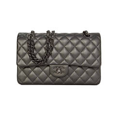 CHANEL Pewter Quilted Lambskin Medium Classic Double Flap Bag RHW