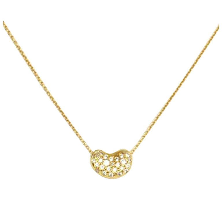 s elsa peretti 18k bean necklace w diamonds at 1stdibs