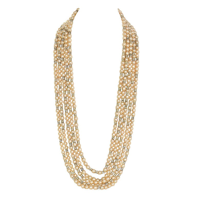 CHANEL Vintage '90s Multi-Strand Pearl & Crystal Rondelle Necklace 2