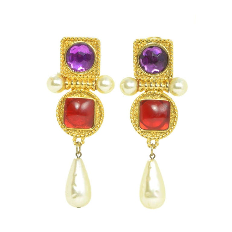 Chanel Vintage Purple Red Geometric Pearl Clip On Earrings For