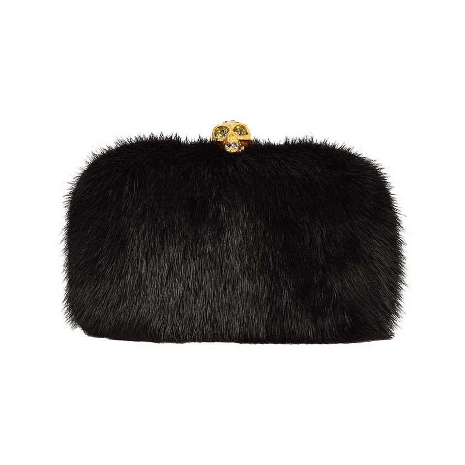 ALEXANDER MCQUEEN Black Fur Skull Clutch GHW For Sale
