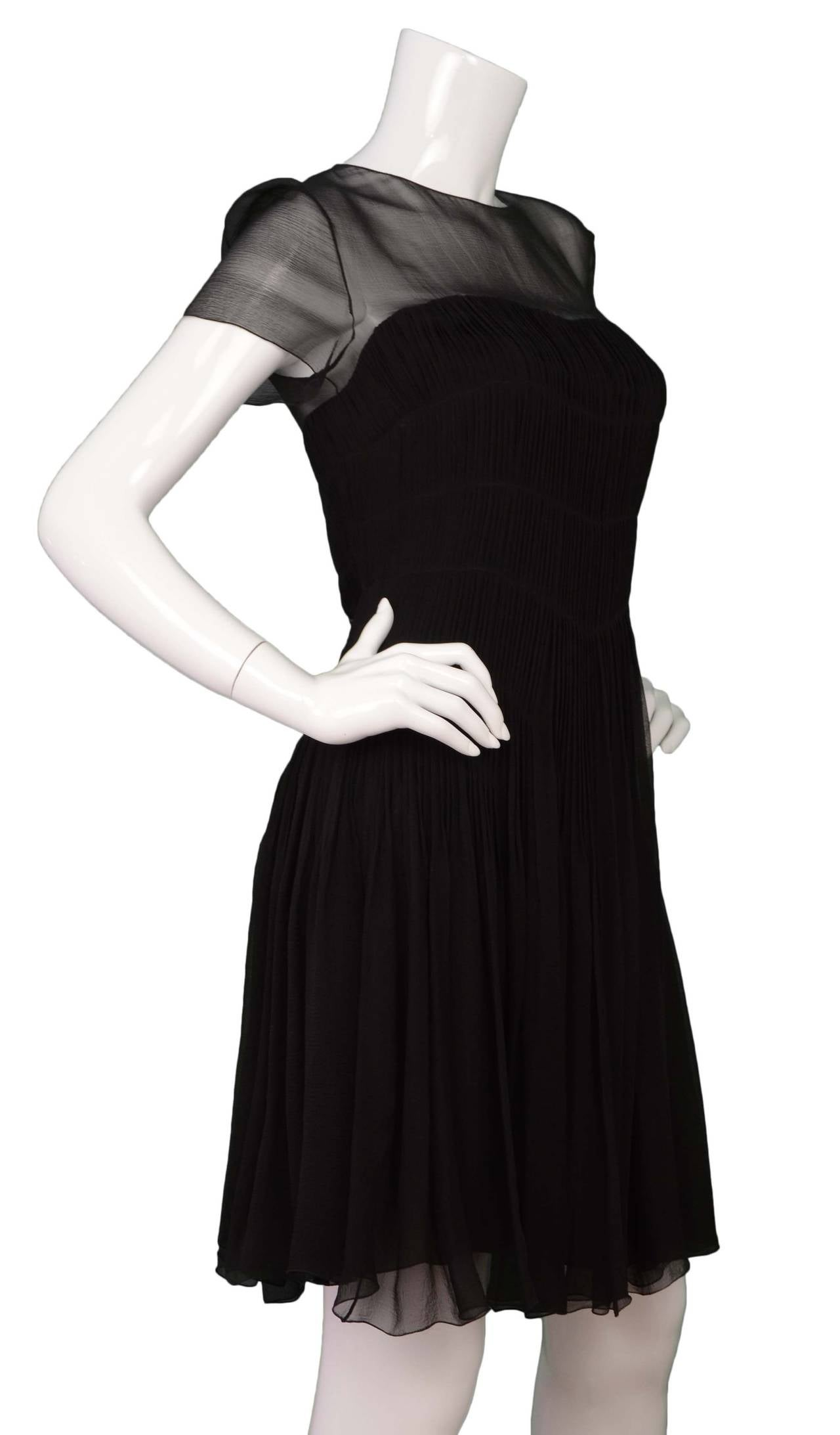 CHANEL Black Silk Short Sleeve Pleated Dress sz 42 2