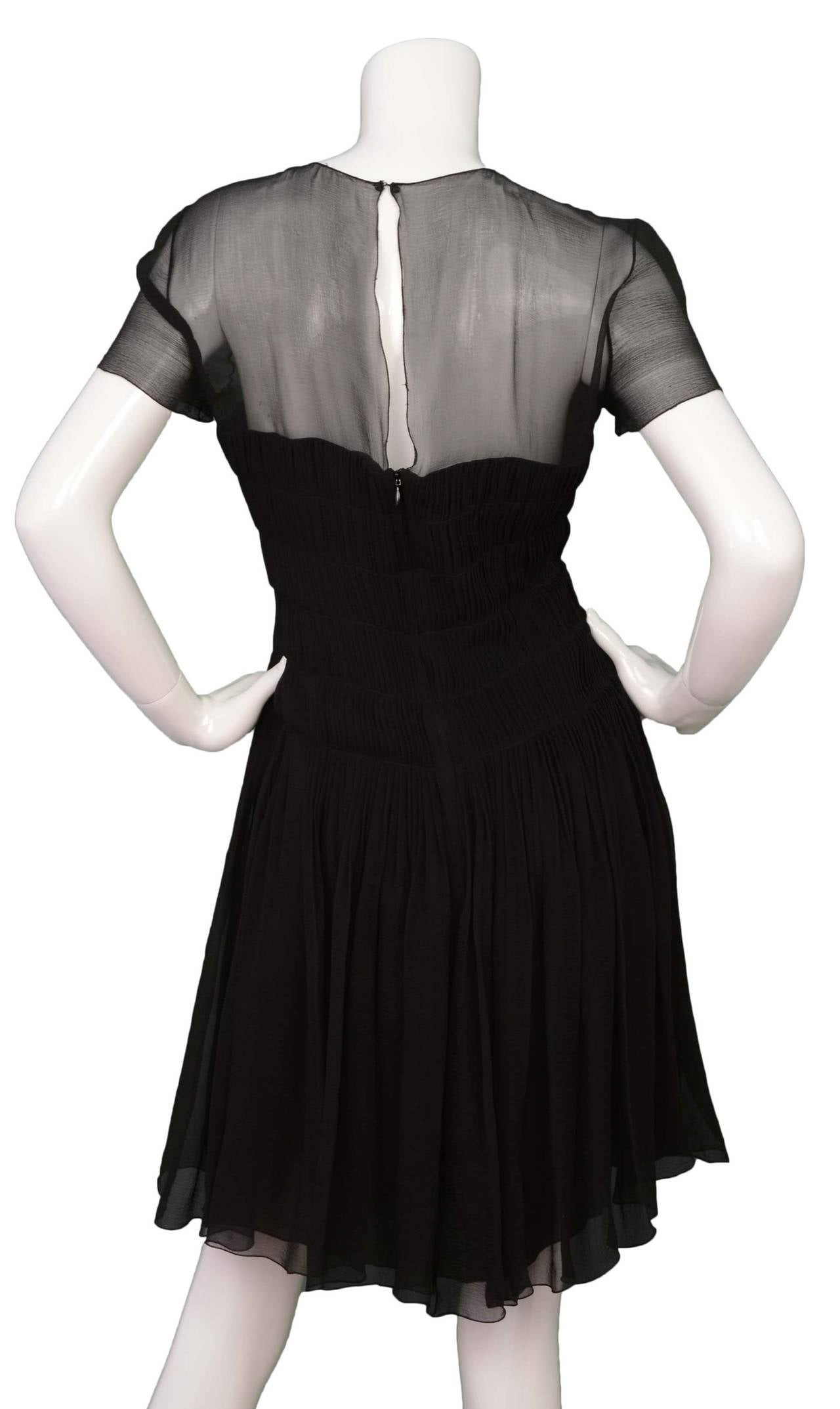 CHANEL Black Silk Short Sleeve Pleated Dress sz 42 3