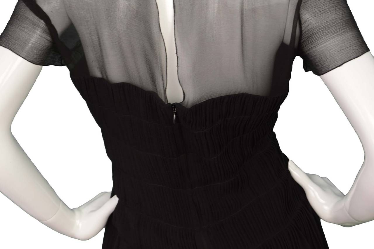CHANEL Black Silk Short Sleeve Pleated Dress sz 42 4