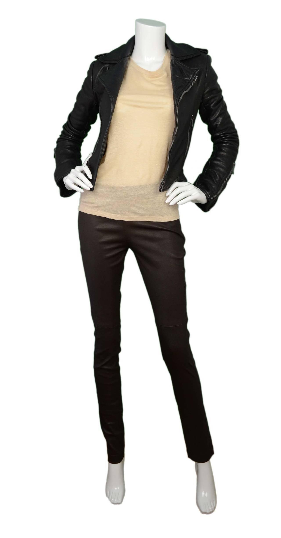 BALENCIAGA Black Leather Biker Jacket sz 34 7
