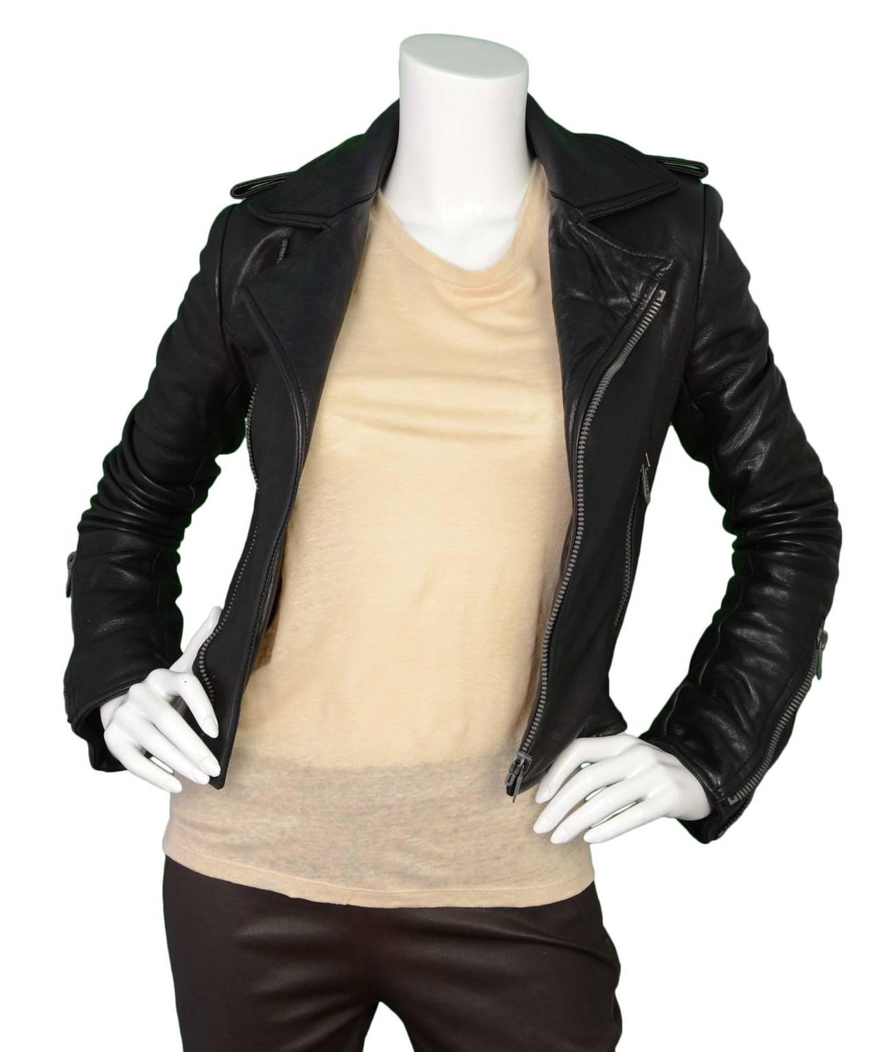BALENCIAGA Black Leather Biker Jacket sz 34 2