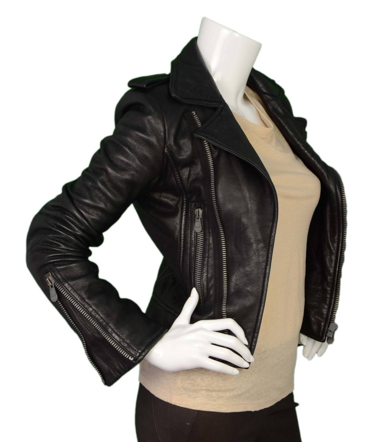 BALENCIAGA Black Leather Biker Jacket sz 34 3