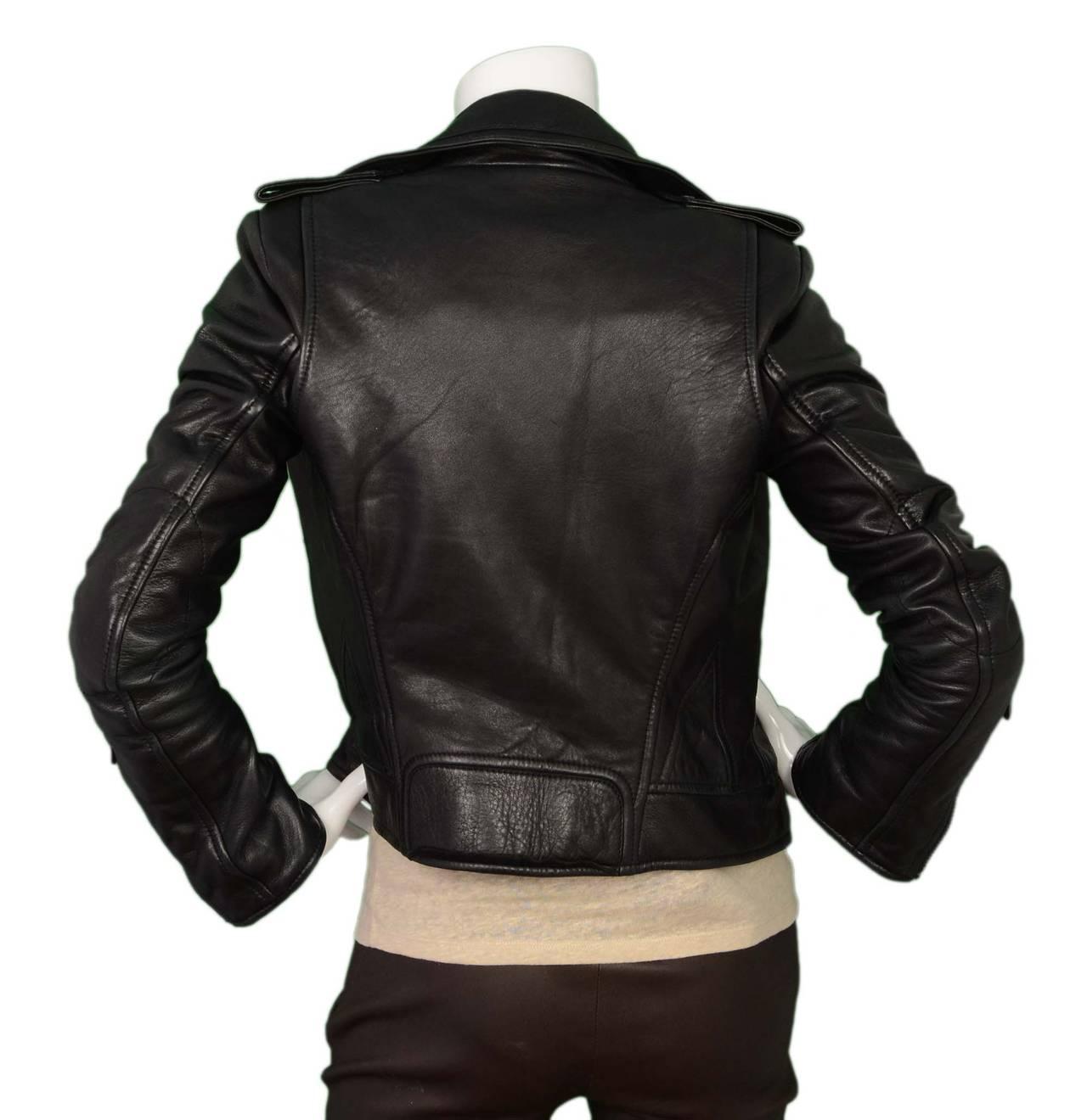 BALENCIAGA Black Leather Biker Jacket sz 34 4