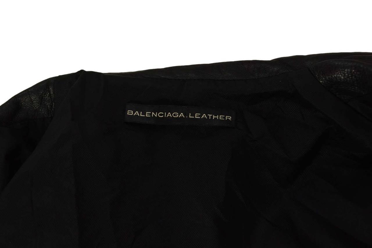 BALENCIAGA Black Leather Biker Jacket sz 34 5
