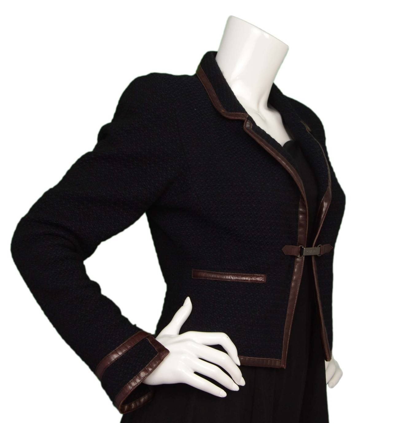 CHANEL Navy & Black Wool Tweed Jacket w/Brown Leather Trim sz 38 2