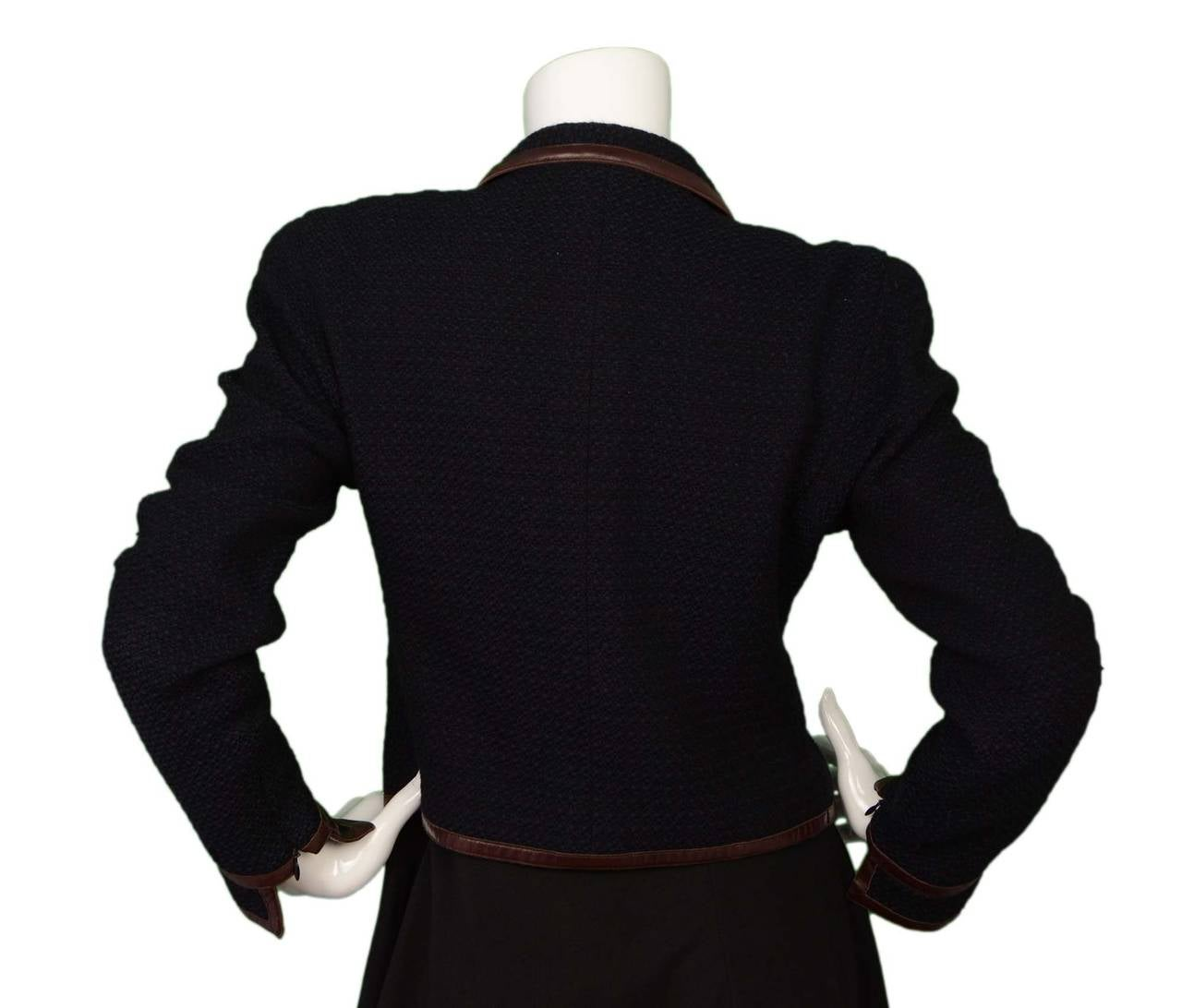 CHANEL Navy & Black Wool Tweed Jacket w/Brown Leather Trim sz 38 3