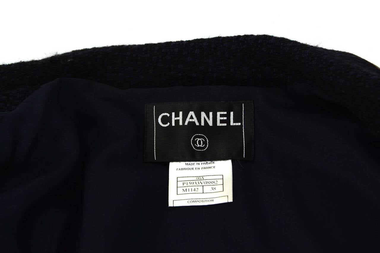 CHANEL Navy & Black Wool Tweed Jacket w/Brown Leather Trim sz 38 5