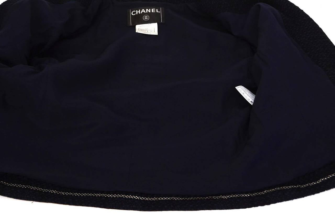 CHANEL Navy & Black Wool Tweed Jacket w/Brown Leather Trim sz 38 4