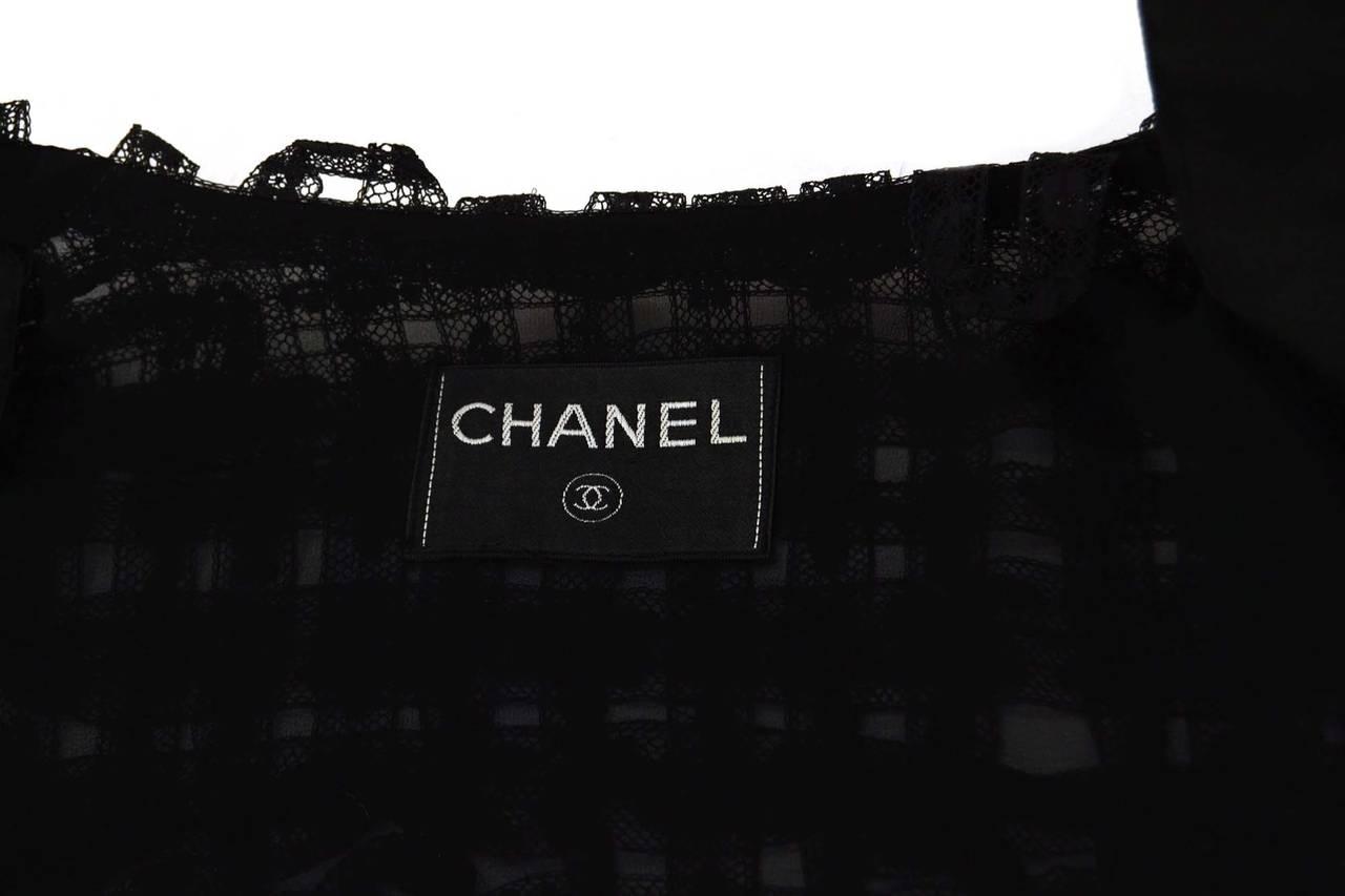 CHANEL Black Lace Open Front Jacket sz M 4