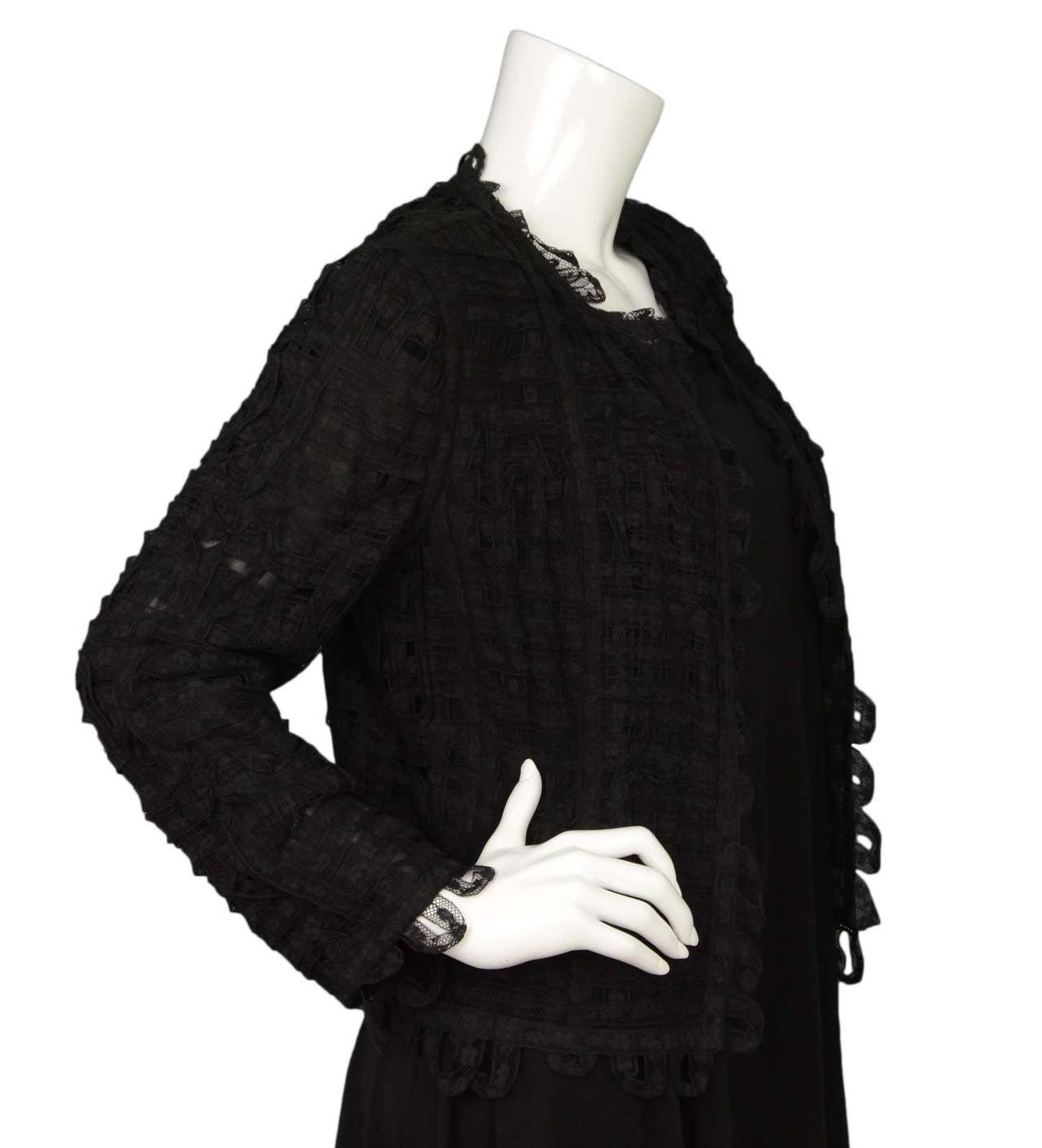 CHANEL Black Lace Open Front Jacket sz M 2