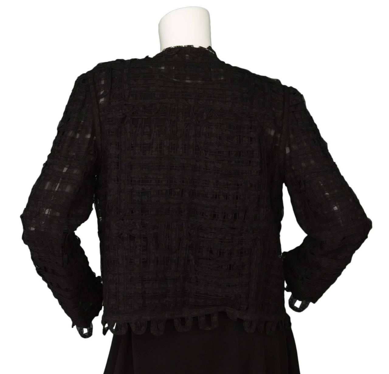 CHANEL Black Lace Open Front Jacket sz M 3