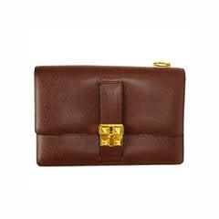 HERMES 1989 Brown Epsom Leather Medor Style Clutch