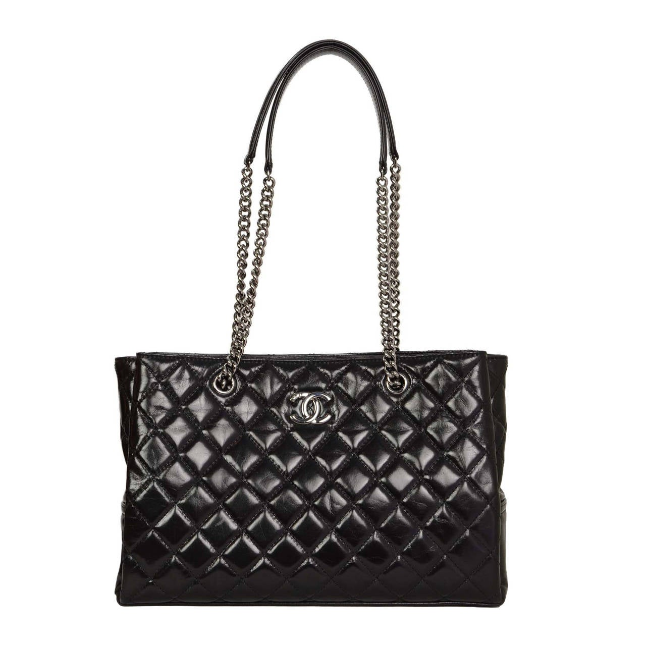 CHANEL 2015 Black Glazed Quilted Leather Shopper Tote Bag RHW at 1stdibs 0f399723bf